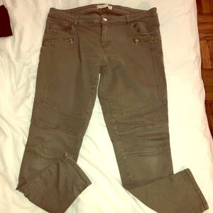 ZARA olive moto jeans